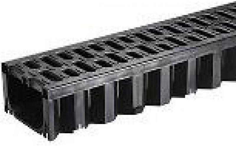 Melns plastm. kanāls ar plast. režģi HexaLine 1m