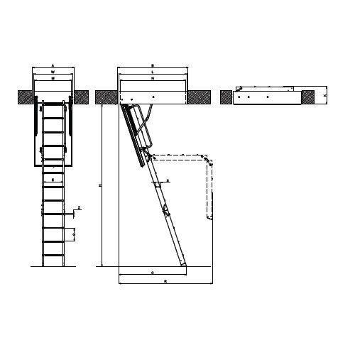 FAKRO bēniņu kāpnes Termo LTK-280 trīsdaļīgas