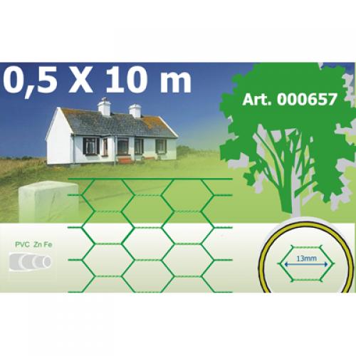 PVC pārklāts heksagonālais žogs 0.5x10m rullis, 25x1.0mm acs (000659)