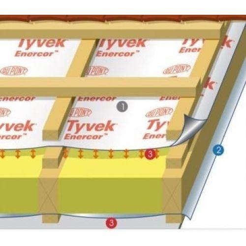 TYVEK Enercor Wall vēja izolācija Ar atstarojošu efektu, 150cm, 100m2